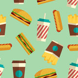 Fast Food icons pattern in flat style. Fast Food icons pattern on turquoise background. Business lunch print. Modern color. Minimalistic style. Flat design Stock Images