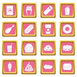 Fast food icons pink. Fast food icons set in pink color isolated vector illustration for web and any design Royalty Free Stock Photo