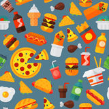Fast food icons restaurant tasty cheeseburger meat and unhealthy meal vector illustration seamless pattern background. Cartoon fast food icons isolated Stock Photography
