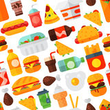 Fast food icons restaurant tasty cheeseburger meat and unhealthy meal vector illustration seamless pattern background. Cartoon fast food icons isolated Stock Image