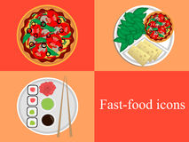 Fast-food icons. Set of icons for fast food stock illustration