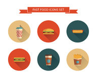 Fast food icons set. On  background. Modern color. Flat design with  long shadows. Minimalistic stile Stock Image