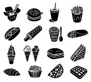 Fast food icons set Royalty Free Stock Image