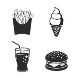 Fast food icons. Set. Black on a white background Royalty Free Stock Photo