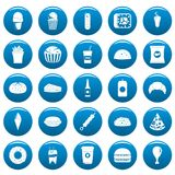 Fast food vector icons set blue, simple style. Fast food icons set blue. Simple illustration of 25 fast food vector icons for web Royalty Free Stock Photography