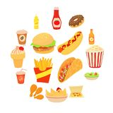 Fast food icons set, cartoon style. Fast food icons set. Cartoon illustration of 16 fast food vector icons for web Royalty Free Stock Images