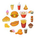 Fast food icons set, cartoon style. Fast food icons set. Cartoon illustration of 16 fast food vector icons for web Stock Photos