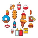 Fast food icons set, cartoon style. Fast food icons set. Cartoon illustration of 16 fast food vector icons for web Stock Images