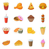 Fast food icons set, cartoon style Royalty Free Stock Photography