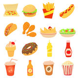 Fast food icons set, cartoon style Royalty Free Stock Images