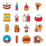 Fast food icons set, cartoon style Stock Photography