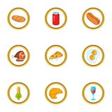 Fast food icons set, cartoon style. Fast food icons set. Cartoon set of 9 fast food vector icons for web isolated on white background Stock Photos