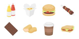Fast food icons in set collection for design.Food from semi-finished products vector symbol stock web illustration. Fast food icons in set collection for design Royalty Free Stock Images