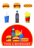 Fast food icons. Set of colorful cartoon fast food icons and banner. Vector available Stock Images