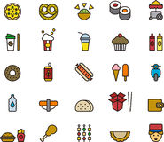 Fast food icons. A set of colorful icons of and related to fast food dishes and items Royalty Free Stock Photography