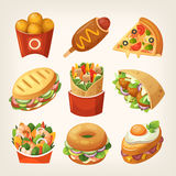 Fast food icons. Set of colorful tasty party snacks, street foods and fair trade treatments. Unhealthy fast food and top quick snacks