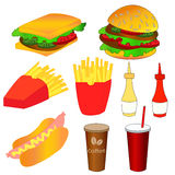 Fast food icons set. Colorful vector illustration. Royalty Free Stock Photos