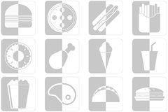 Fast food icons. Set of different fast food icons in gray color Royalty Free Stock Image