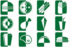 Fast food icons. Set of different fast food icons in green color Stock Photo
