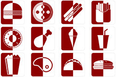 Fast food icons. Set of different fast food icons in red color Stock Images