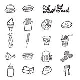 Fast food icons set doodle drawing Royalty Free Stock Photos