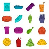 Fast food icons doodle set. Fast food icons set. Doodle illustration of vector icons isolated on white background for any web design Stock Photo