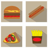 Fast Food Icons Set Stock Photography