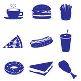 Fast food icons set eps10. Blue fast food icons set eps10 stock illustration