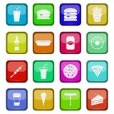 Fast food icons set. On a colored buttons, vector illustration Royalty Free Stock Photos