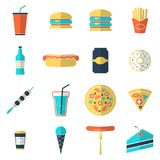 Fast food icons set. Flat style, vector illustration Royalty Free Stock Images