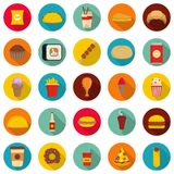 Fast food icons set, flat style. Fast food icons set. Flat illustration of 25 fast food vector icons circle isolated on white Stock Photography