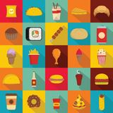Fast food icons set, flat style. Fast food icons set. Flat illustration of 25 fast food vector icons for web Stock Photo