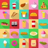 Fast food icons set, flat style. Fast food icons set. Flat illustration of 25 fast food vector icons for web Stock Photography