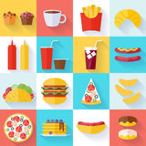 Fast food icons set - flat style Royalty Free Stock Photos