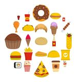 Fast food icons set, flat style. Fast food icons set. Flat illustration of 25 fast food vector icons isolated on white background Stock Images