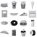 Fast food icons set, gray monochrome style Stock Photography