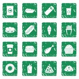 Fast food icons set grunge. Fast food icons set in grunge style green isolated vector illustration Stock Photo