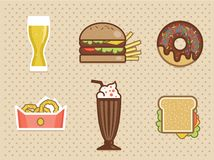 Fast food icons set high detailed color Stock Image