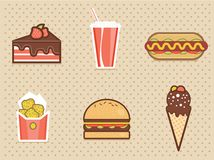 Fast food icons set high detailed color Royalty Free Stock Image