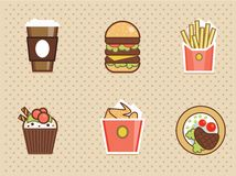 Fast food icons set high detailed color Stock Photo