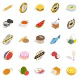 Fast food icons set, isometric style. Fast food icons set. Isometric set of 25 fast food vector icons for web isolated on white background Royalty Free Stock Image