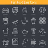 Fast Food Icons. Set of 20 fast food line icon Royalty Free Illustration