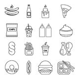 Fast food icons set, outline style Stock Images