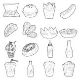 Fast food icons set, outline style Royalty Free Stock Photo