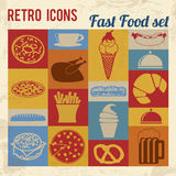 Fast Food icons set. Retro signs with grunge effect, vector illustration Stock Image