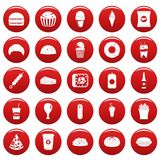 Fast food icons set vetor red. Fast food icons set. Simple illustration of 25 fast food vector icons red isolated Royalty Free Stock Photography