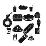 Fast food icons set, simple style. Fast food icons set. Simple illustration of 16 fast food vector icons for web Stock Photo