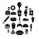 Fast food icons set, simple style. Fast food icons set. Simple illustration of 25 fast food vector icons for web Stock Photo