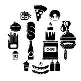 Fast food icons set, simple style. Fast food icons set. Simple illustration of 16 fast food vector icons for web Royalty Free Stock Images