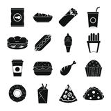 Fast food icons set, simple style Royalty Free Stock Image